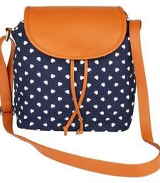 Buy Blue Canvas with PU Flap Emma Sling Bag sling-bag online