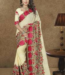 Buy cream embroidered georgette saree wedding-saree online