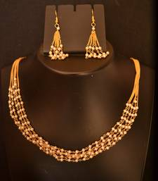Designer Pearl Stone Golden Chain Necklace set with Matching Earrings