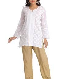Buy White embroidered cotton kurtas-and-kurtis tunic online