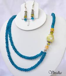Buy Beaded Blue and Yellow Jade Two Layer Necklace Set  necklace-set online