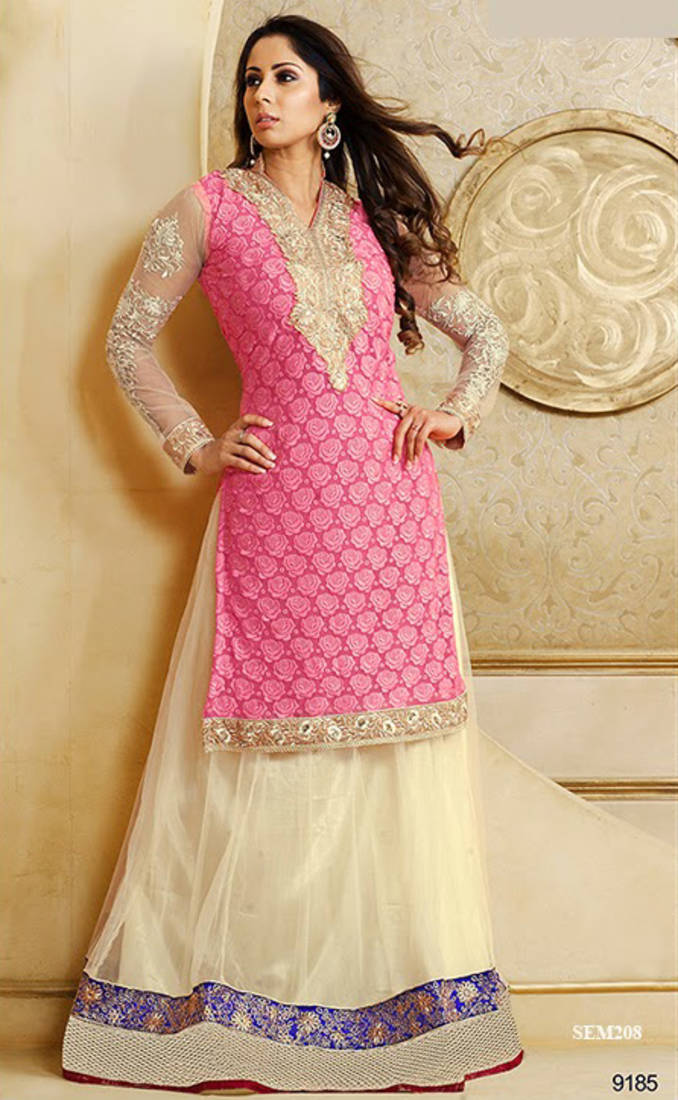 06b6f5241f Sangita Ghosh In Pink Jacket Style Anarkali Suit - V and V Shop - 223984