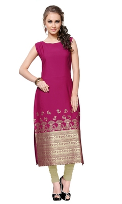 pink printed crepe stitched kurti