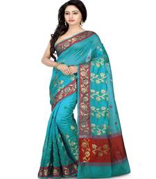 Buy Sky blue woven cotton saree with blouse cotton-saree online