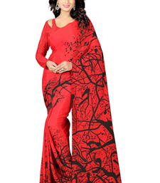 Buy Red printed crepe saree with blouse