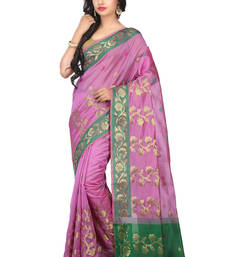 Buy Magenta woven cotton saree with blouse cotton-saree online