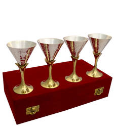 Buy German silver two tone set of four wine glass set diwali-silver-gift online