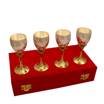 German silver two tone set of four wine glass set
