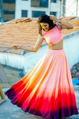 Pink digital print Bangalori silk  lehenga with choli