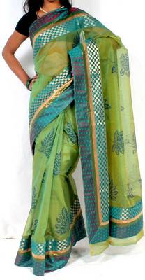 Designer supernet Printed fancy pallu saree