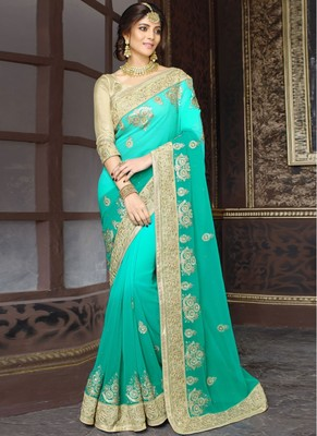 turquoise and sea green embroidered georgette saree with blouse