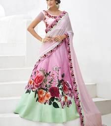Buy Rose printed art silk unstitched lehenga ethnic-lehenga online
