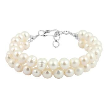 White Fresh Water Pearl Two Strands Bracelet For Women
