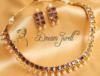 Lovely Designer Purple Polki Necklace Set