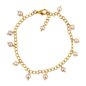 White Freshwater Pearl And Golden Metal Chain Bracelet with Extension