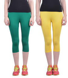 Buy Pak Green and Yellow plain Cotton capris-3-4-pants capris-3-4-pant online