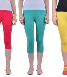 Buy Dark Rani and Sea Green and yellow plain Cotton capris-3-4-pants capris-3-4-pant online