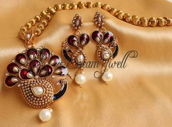 Beautiful antique maroon -pearl peacock necklace set-Dj16709
