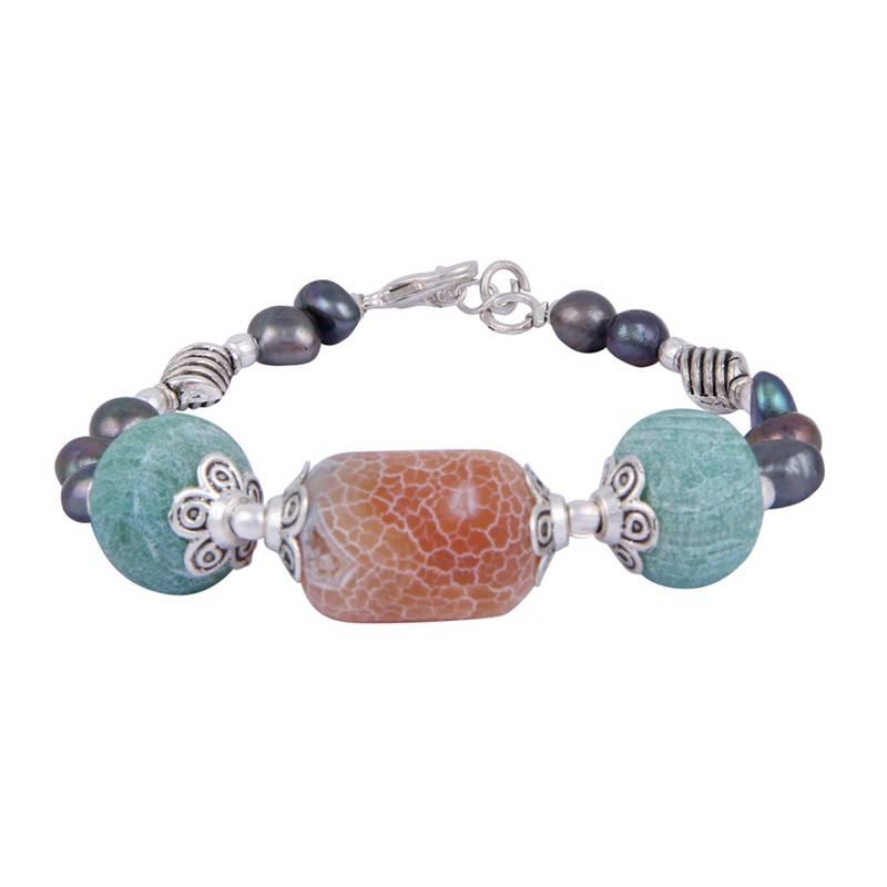 Kanjivaram Beads: Dovetail Dyed Black Freshwater Pearl & Frosted Agate