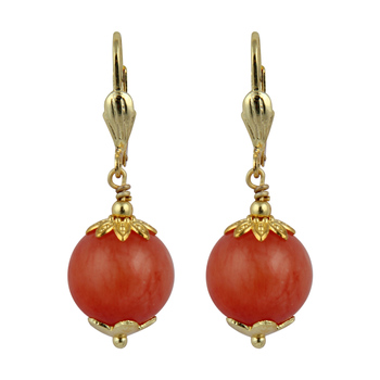 Dyed Quartzite Gemstone Beads Earrings For Women - Orange