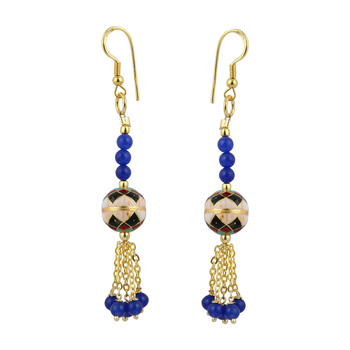 Precise Navy Blue Jade Beads 3 Inches Earrings For Women