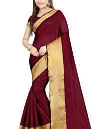 Buy Maroon Plain cotton poly saree with blouse Woman online