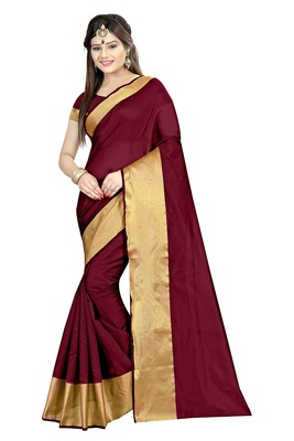 Maroon Plain cotton poly saree with blouse
