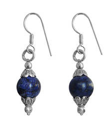 Dayed Lapis Lazuli Beads Dangle Earrings