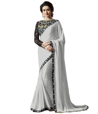 White embroidered satin saree with blouse