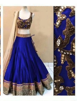 Blue embroidered dupion silk unstitched lehenga
