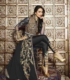 Buy Grey georgette semi stitched salwar with dupatta silk-georgette-salwar online
