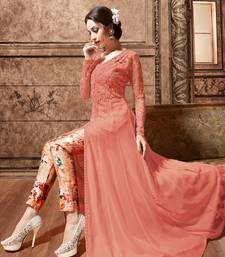 Buy dark peach embroidred georgette semi stitched pakistani salwar with dupatta women-ethnic-wear online