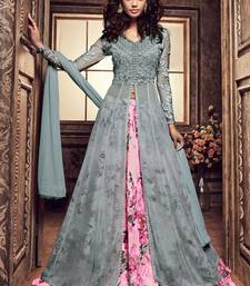 Buy grey embroidred georgette semi stitched salwar with dupatta