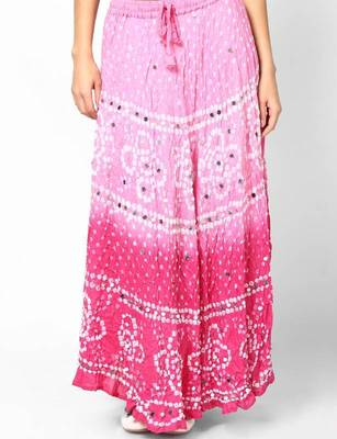 Beautiful Pink Shaded Cotton Bandhej Skirt