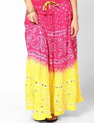 Amazing Pink Yellow Bandhej Hand Work Skirt