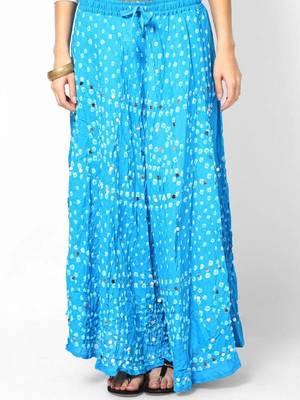 Turquoise Bandhej Hand Work Skirt