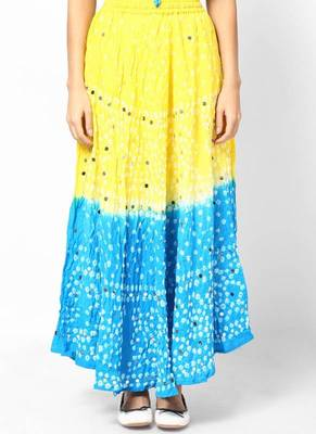 Lemon Turquoise bandhej Hand Work Skirt