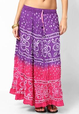 pink Purple Bandhej hand Work Skirt