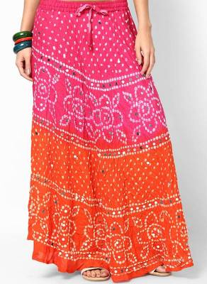 orange pink bandhej hand work skirt