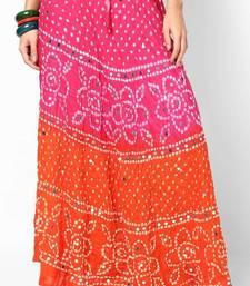 orange pink bandhej hand work skirt