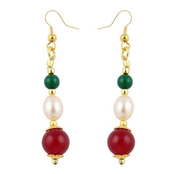 Fresh Water Pearl, Green Jade And Red Jade Earrings