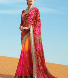 Buy Red embroidered jacquard saree with blouse bandhani-sarees-bandhej online