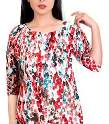 Red printed stretchable lycra free size tops