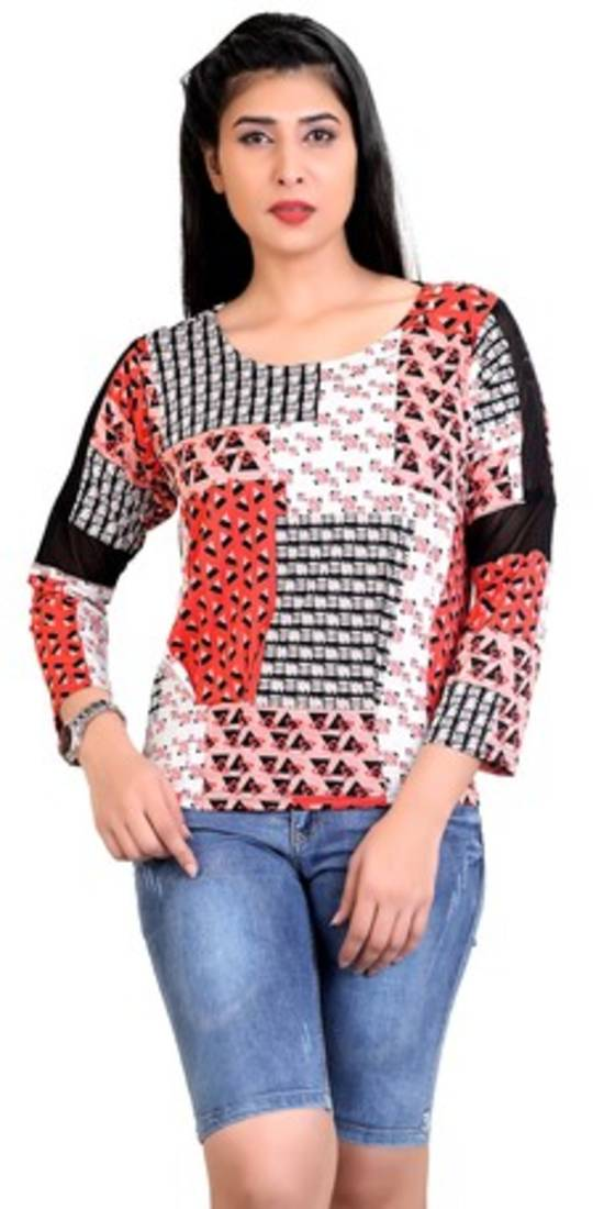 a5650fa93da Red printed stretchable lycra free size tops - APPEX GARMENT ...