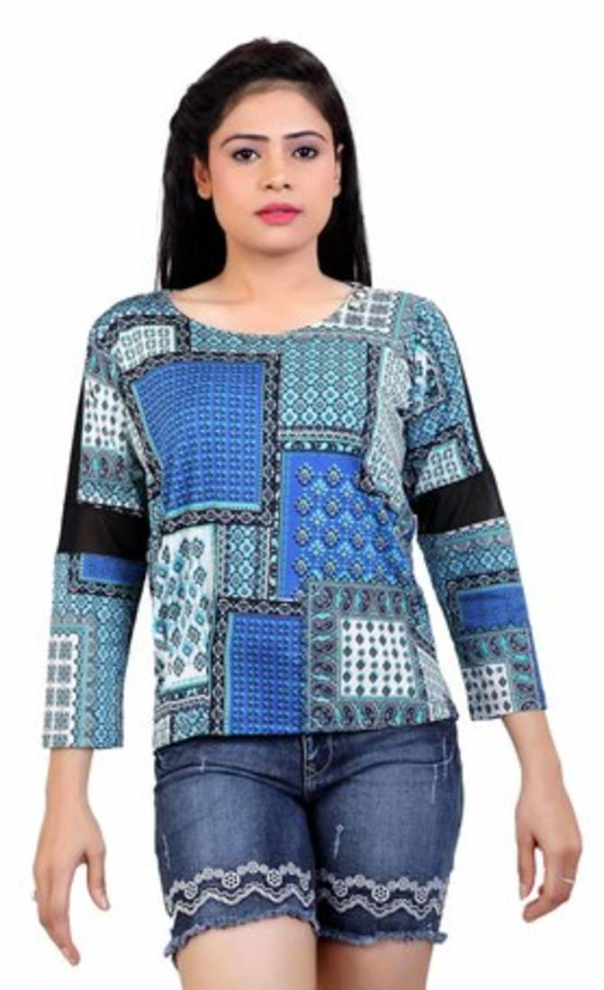 cdf6ff70262 Buy Blue printed stretchable lycra free size tops Online