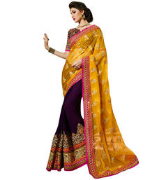 Buy Orange and purple embroidered net and georgette saree with blouse ethnic-saree online