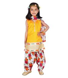 Buy Yellow dupion silk printed floral salwar suit with lining kids-salwar-suit online