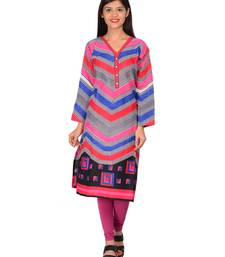 Buy Multicolor printed cotton unstitched kurti cotton-kurti online