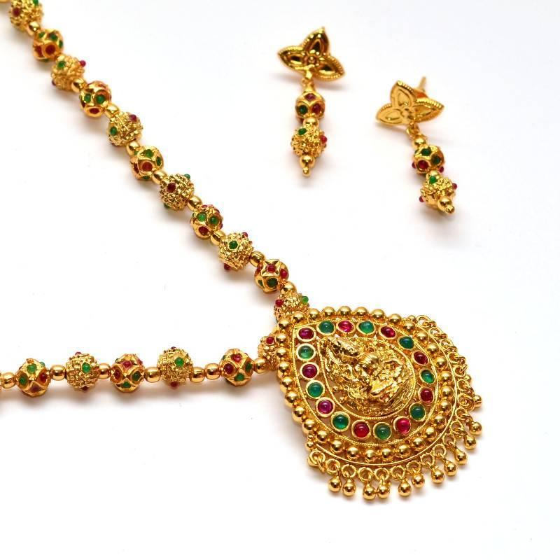 Buy Anvi's droplet shaped lakshmi pendent(temple jewellery ...