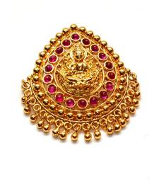 Buy Anvi's droplet shaped lakshmi (temple locket) with rubies Pendant online
